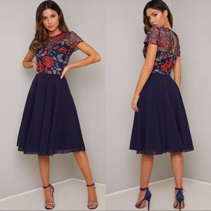 Chi Chi London Navy Blue Embroidered Lace Dress